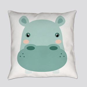 Cute Hippo Everyday Pillow