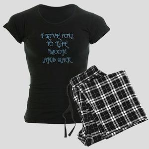 I LOVE YOU TO THE MOON AND B Women's Dark Pajamas