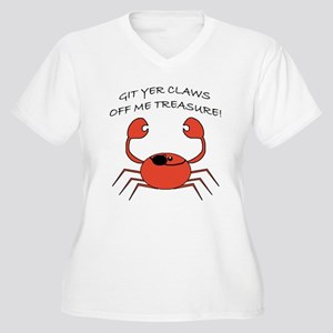 CLAWS OFF! Women's Plus Size V-Neck T-Shirt