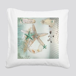 Summer Sea Treasures Beach Square Canvas Pillow