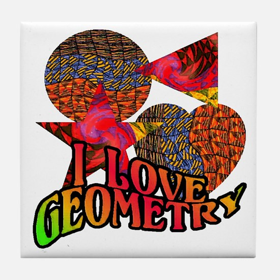 I Love Geometry Tile Coaster