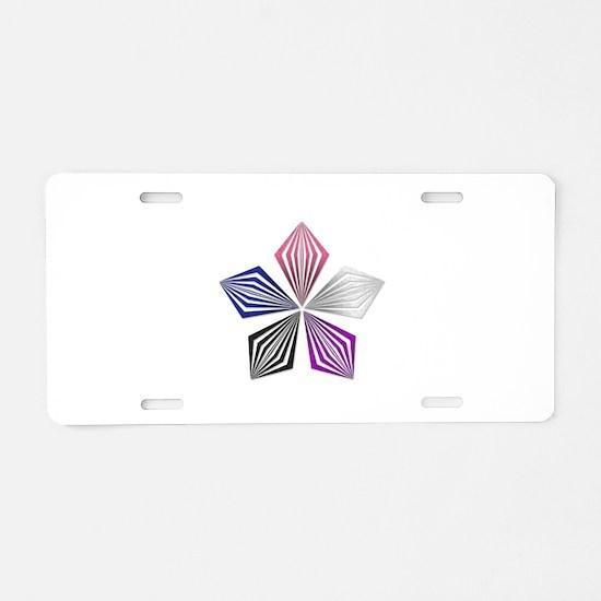 Gender Fluid Pride Starburst Aluminum License Plat