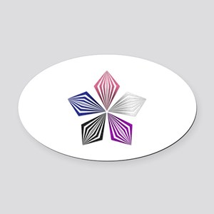 Gender Fluid Pride Starburst Oval Car Magnet