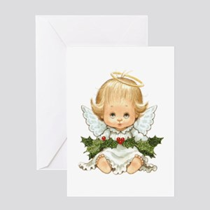 Cute Christmas Baby Angel And Holly Greeting Cards