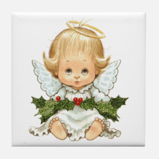 Cute Christmas Baby Angel And Holly Tile Coaster