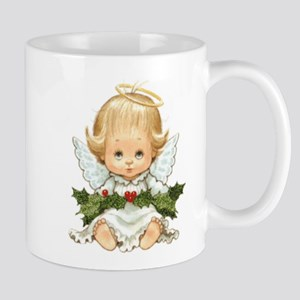 Cute Christmas Baby Angel And Holly Mugs