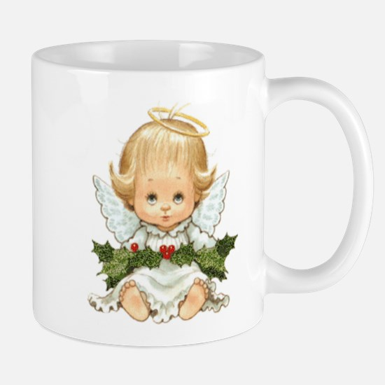 Cute Christmas Baby Angel And Holly Mugs