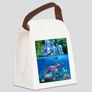 The Dolphin Family Canvas Lunch Bag