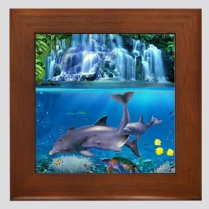 The Dolphin Family Framed Tile