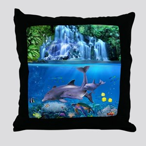 The Dolphin Family Throw Pillow