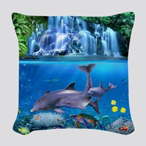 The Dolphin Family Woven Throw Pillow