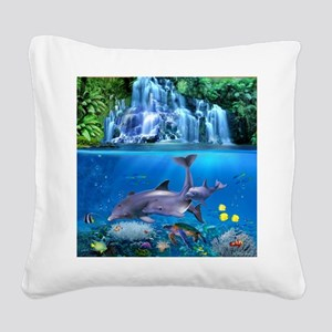 The Dolphin Family Square Canvas Pillow