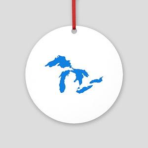 Great Lakes Usa Amerikan Big Water Round Ornament