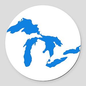 Great Lakes Usa Amerikan Big Wate Round Car Magnet