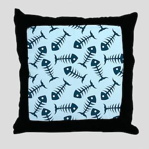 Fish Skeletons Throw Pillow