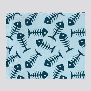 Fish Skeletons Throw Blanket