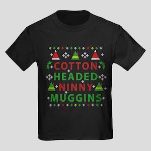 Elf Cotton Headed Ninny Muggins Kids Dark T-Shirt