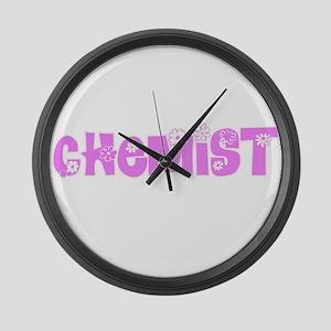 Chemist Pink Flower Design Large Wall Clock