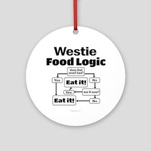 Westie Food Round Ornament