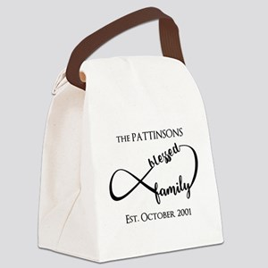 Personalized Family Name Black In Canvas Lunch Bag