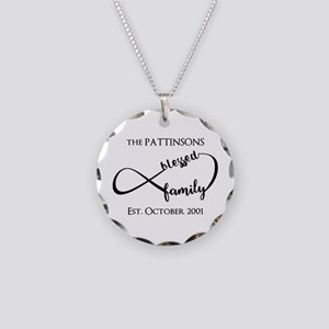 Personalized Family Name Bla Necklace Circle Charm
