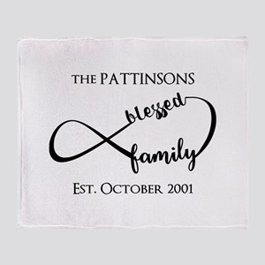 Personalized Family Name Black Infin Throw Blanket