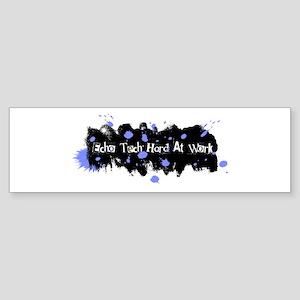 Hard At Work Gel Splatter Blue/Wh Sticker (Bumper)