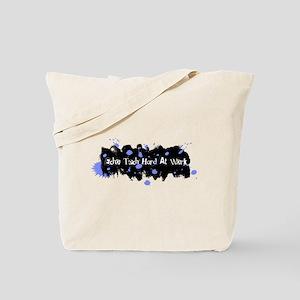 Hard At Work Gel Splatter Blue/White Tote Bag