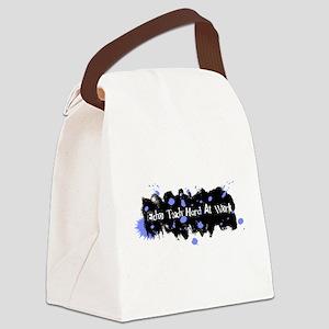 Hard At Work Gel Splatter Blue/Wh Canvas Lunch Bag