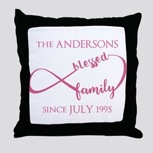 Monogram Family Surname Infinity Bles Throw Pillow