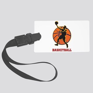 Basketball Logo with Layup Large Luggage Tag