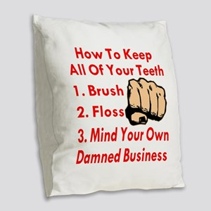 Mind Your Own Business Burlap Throw Pillow