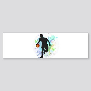 Basketball Player Dribbling Ball in Bumper Sticker