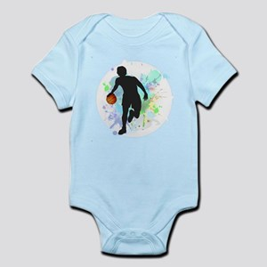 Basketball Player Dribbling Ball in Circ Body Suit