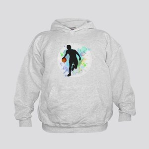 Basketball Player Dribbling Ball in Ci Kids Hoodie
