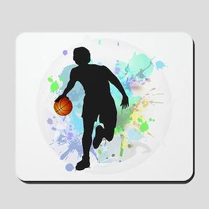 Basketball Player Dribbling Ball in Circ Mousepad