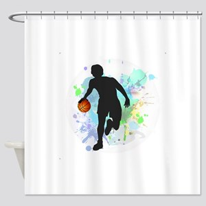 Basketball Player Dribbling Ball in Shower Curtain