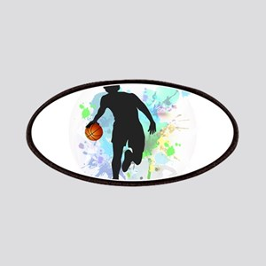 Basketball Player Dribbling Ball in Circle o Patch