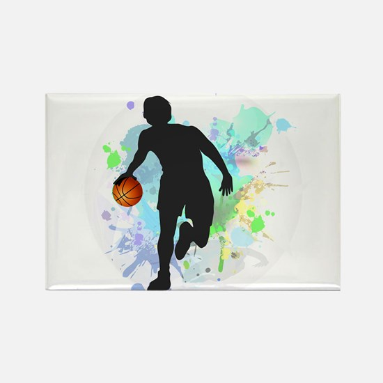 Basketball Player Dribbling Ball in Circle Magnets