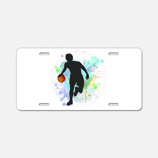 Basketball Player Dribbling Aluminum License Plate