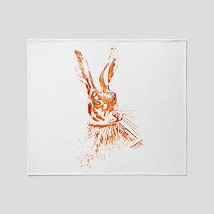 Orange Hare Artwork Throw Blanket