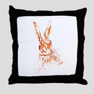 Orange Hare Artwork Throw Pillow