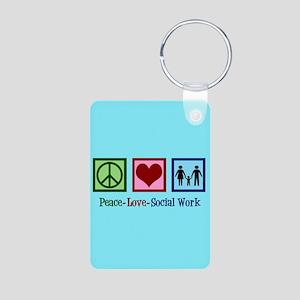Peace Love Social Work Aluminum Photo Keychain