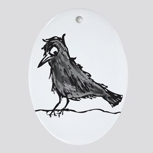 Angry Crow Painting Oval Ornament