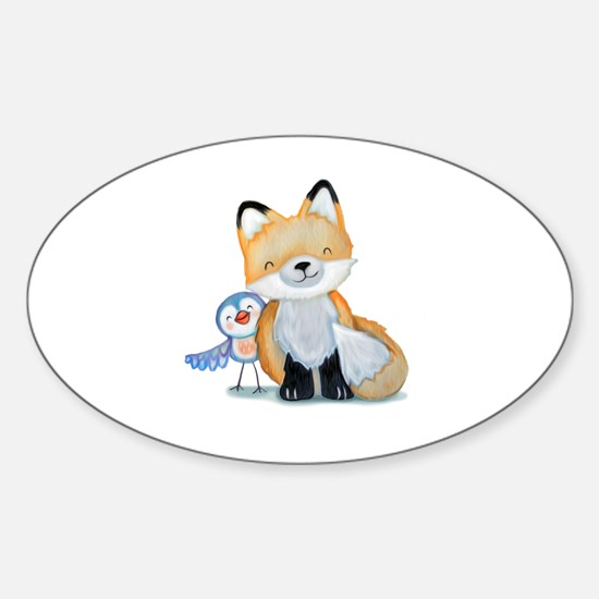 Cute Forest animals Sticker (Oval)