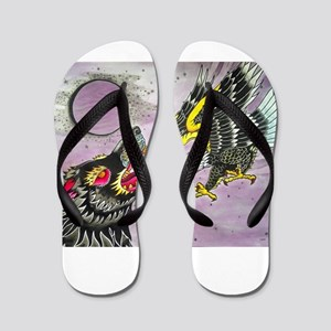 Wolf and Eagle Flip Flops