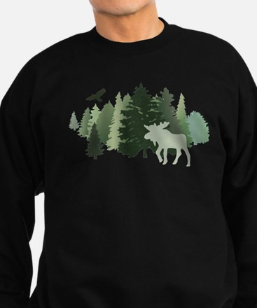Moose in the Forest Sweatshirt (dark)
