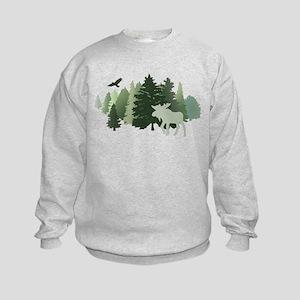 Moose in the Forest Kids Sweatshirt