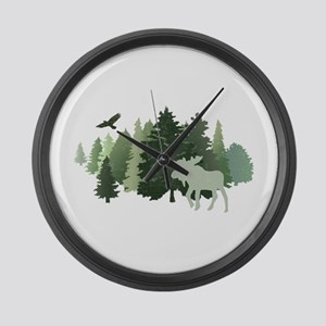 Moose in the Forest Large Wall Clock
