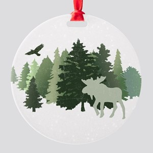 Moose in the Forest Round Ornament
